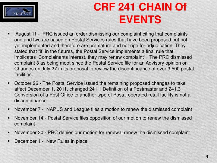 CRF 241 CHAIN Of
