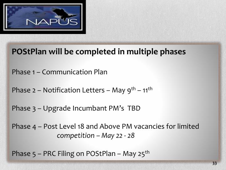 POStPlan will be completed in multiple phases