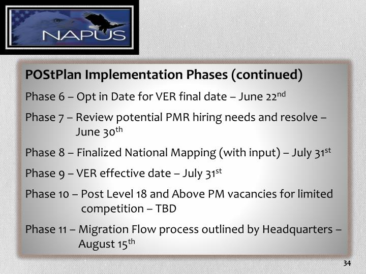 POStPlan Implementation Phases (continued)