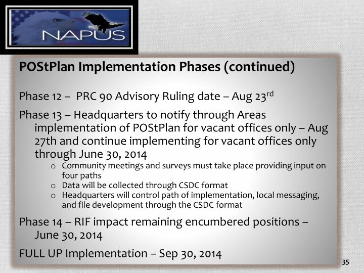 POStPlan Implementation Phases (continued