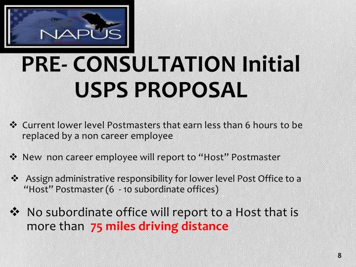 PRE- CONSULTATION Initial USPS PROPOSAL
