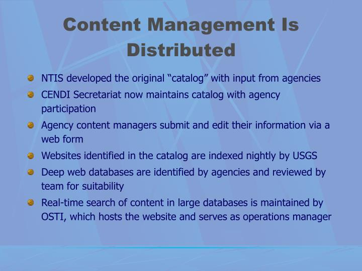 Content Management Is Distributed