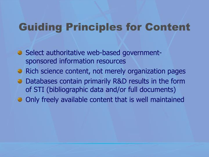 Guiding Principles for Content