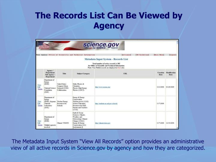 The Records List Can Be Viewed by Agency