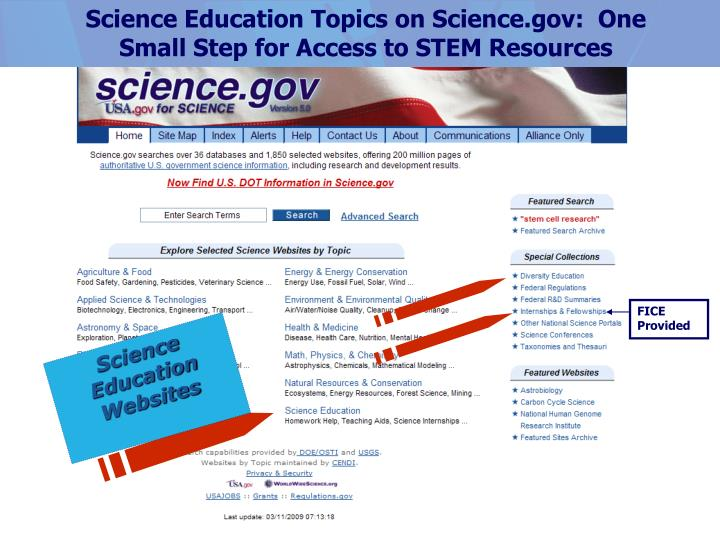Science Education Topics on Science.gov:  One Small Step for Access to STEM Resources