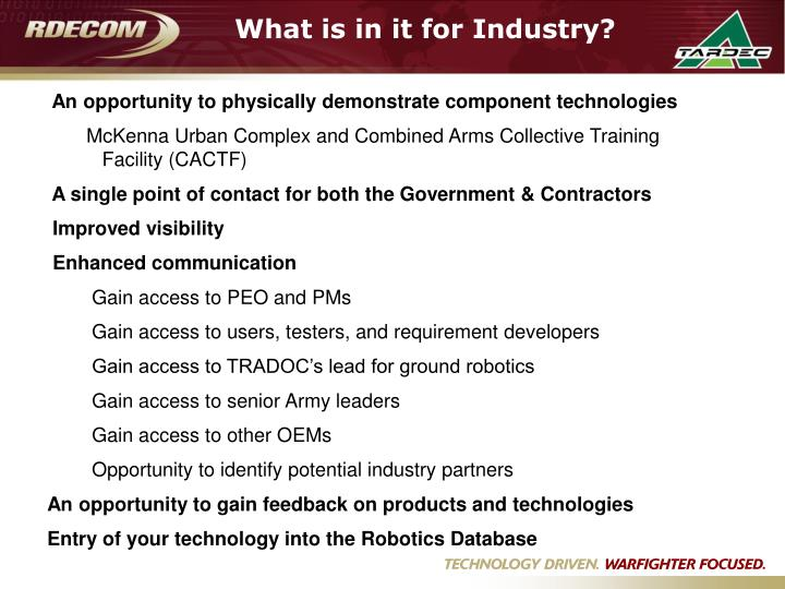 What is in it for Industry?