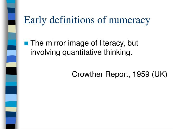 Early definitions of numeracy