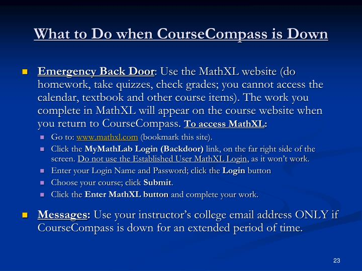 What to Do when CourseCompass is Down