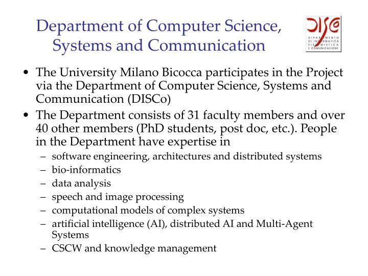 Department of computer science systems and communication