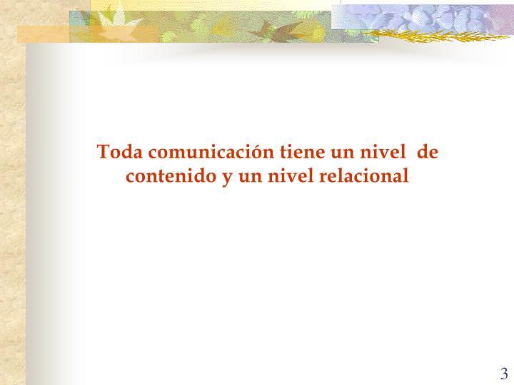 Toda comunicación tiene un nivel  de contenido y un nivel relacional