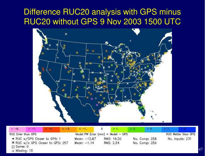 Difference RUC20 analysis with GPS minus RUC20 without GPS 9 Nov 2003 1500 UTC