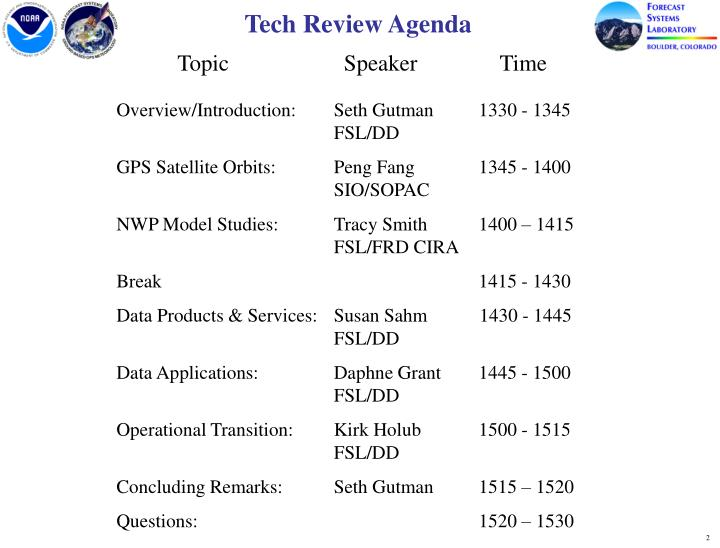 Tech Review Agenda