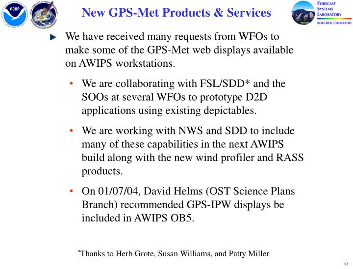 New GPS-Met Products & Services