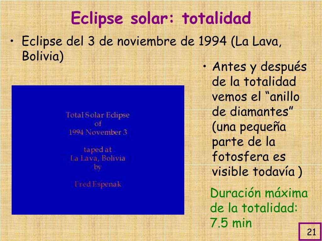 Eclipse solar: totalidad