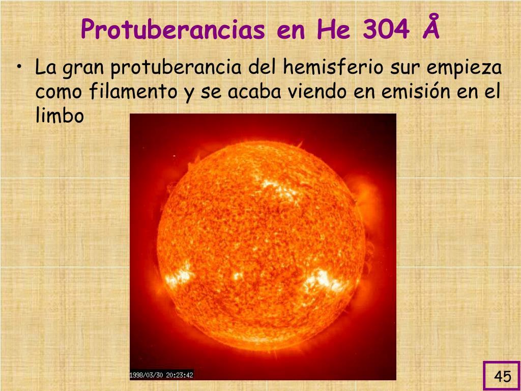 Protuberancias en He 304