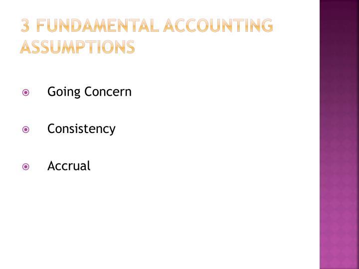 3 FUNDAMENTAL ACCOUNTING ASSUMPTIONS