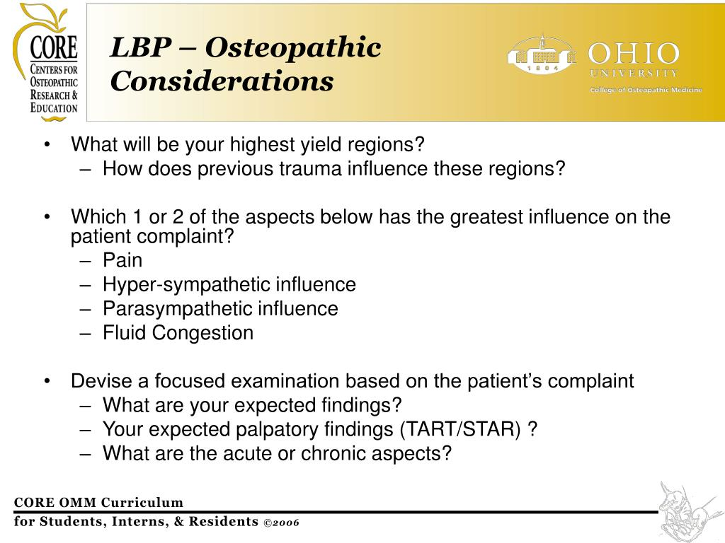 LBP – Osteopathic Considerations