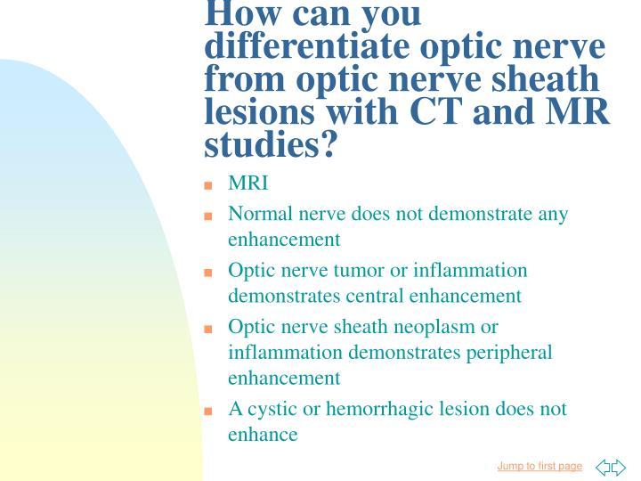 How can you differentiate optic nerve from optic nerve sheath lesions with CT and MR studies?