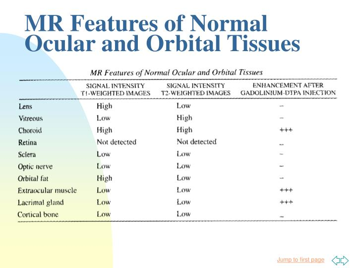MR Features of Normal Ocular and Orbital Tissues