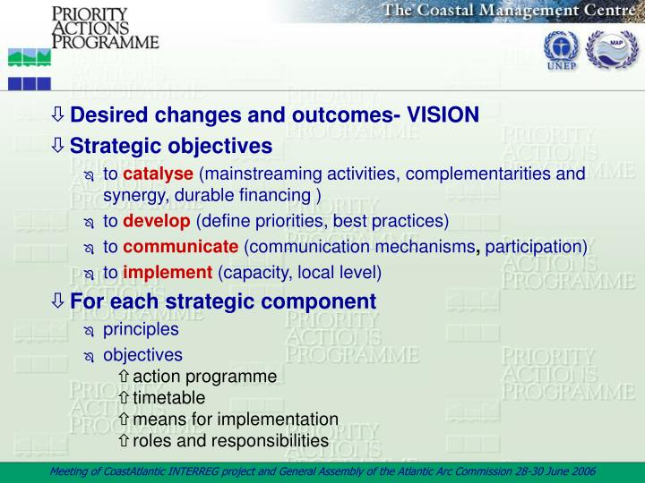 Desired changes and outcomes- VISION