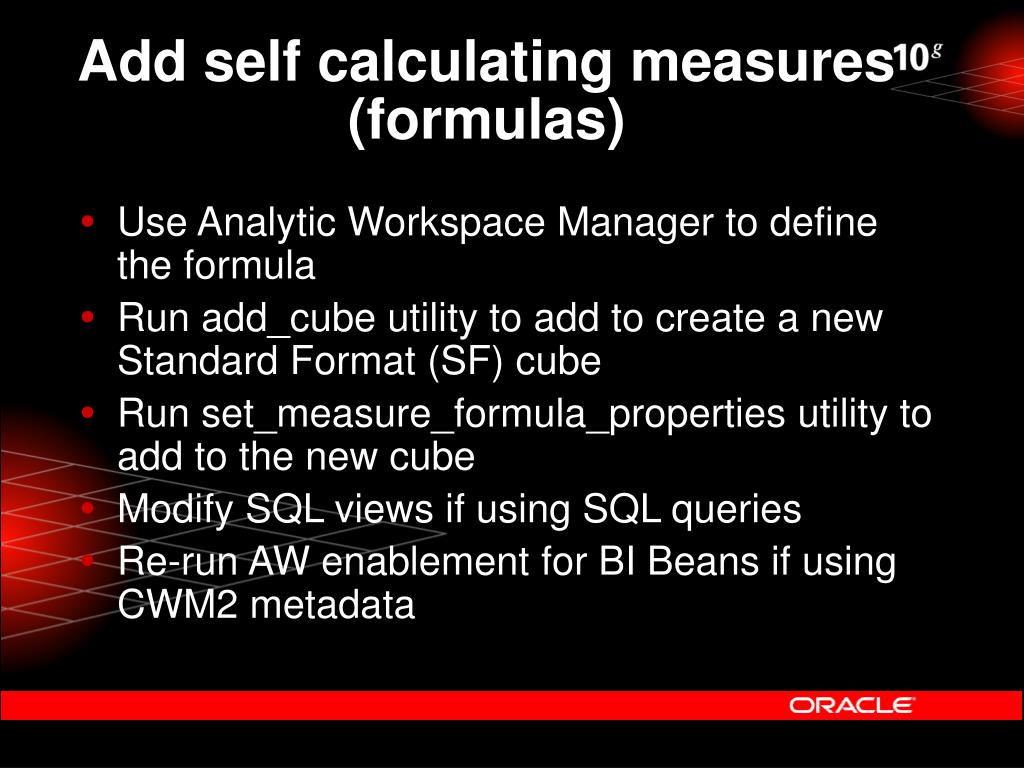 Add self calculating measures (formulas)