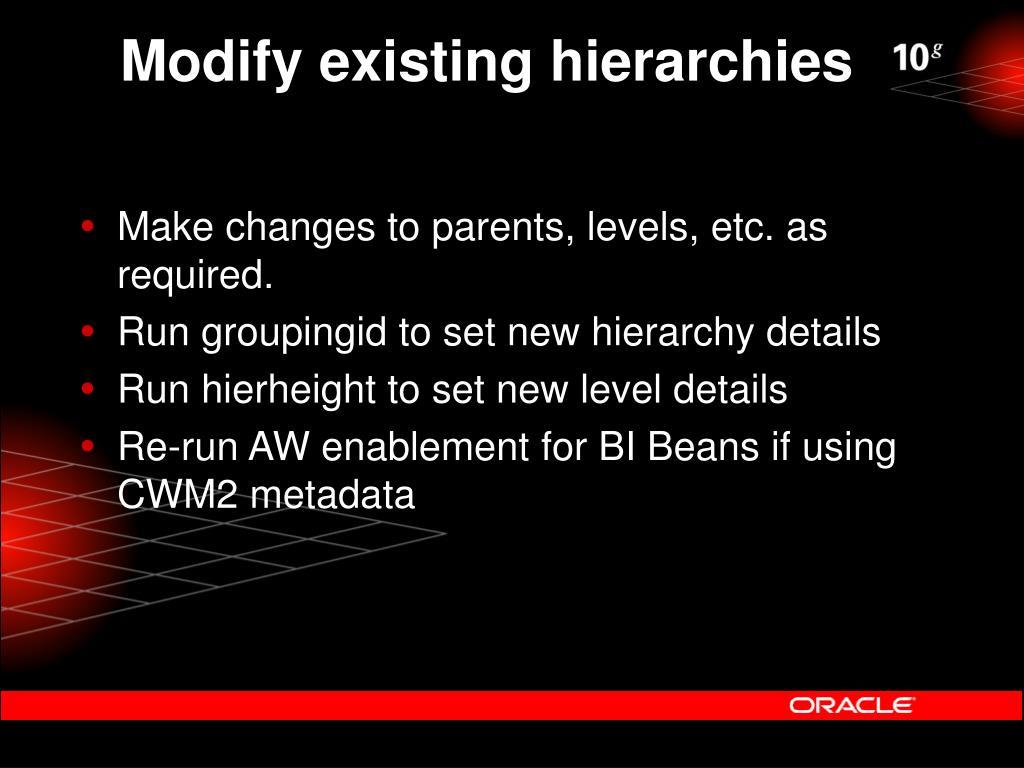 Modify existing hierarchies