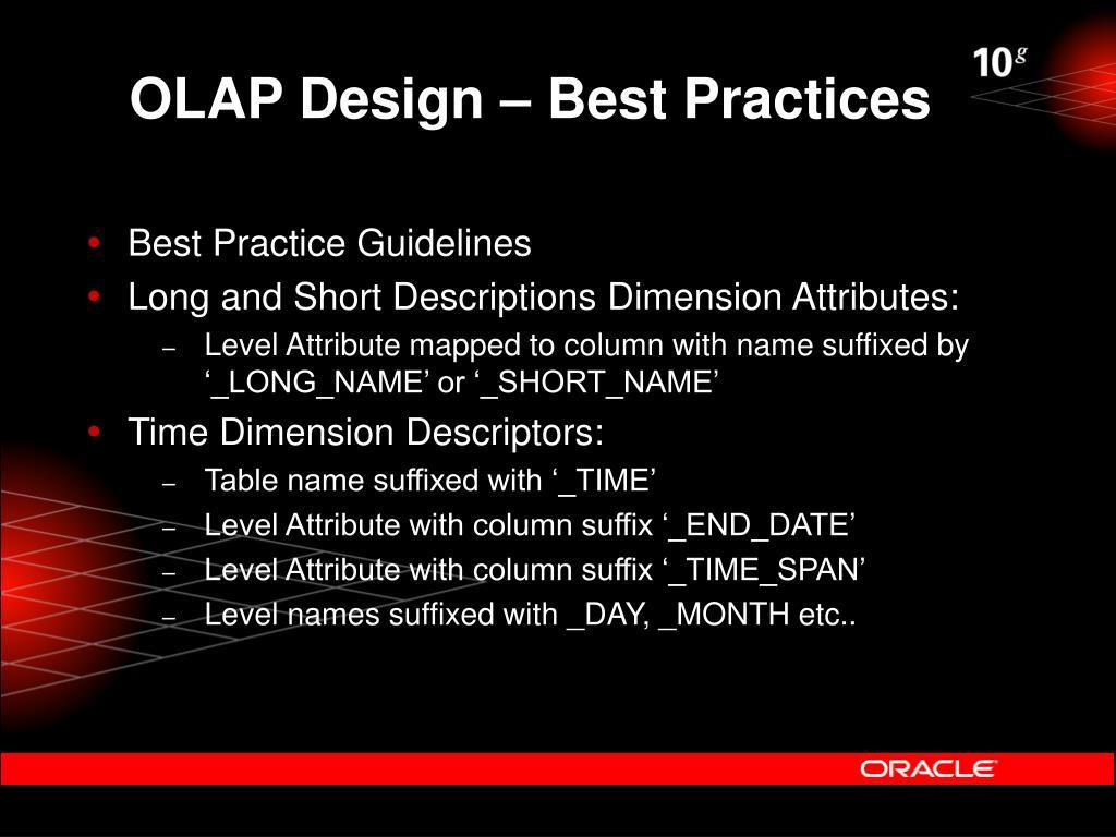 OLAP Design – Best Practices