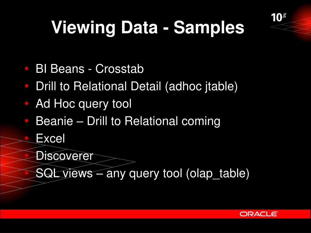 Viewing Data - Samples