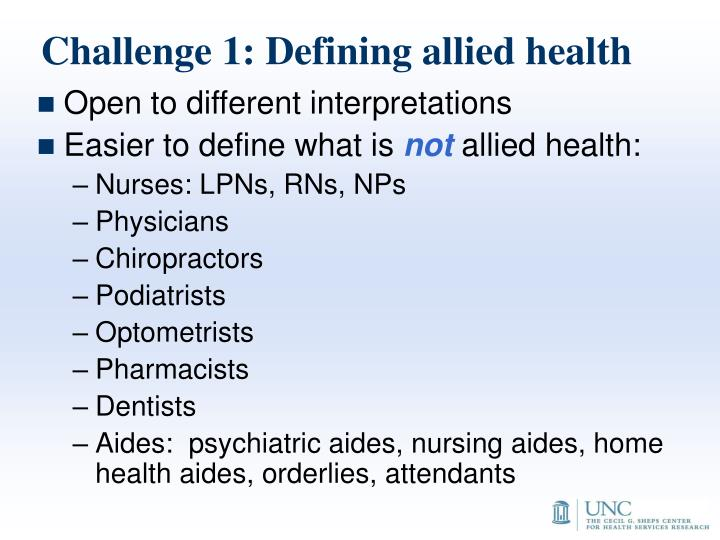 Challenge 1: Defining allied health