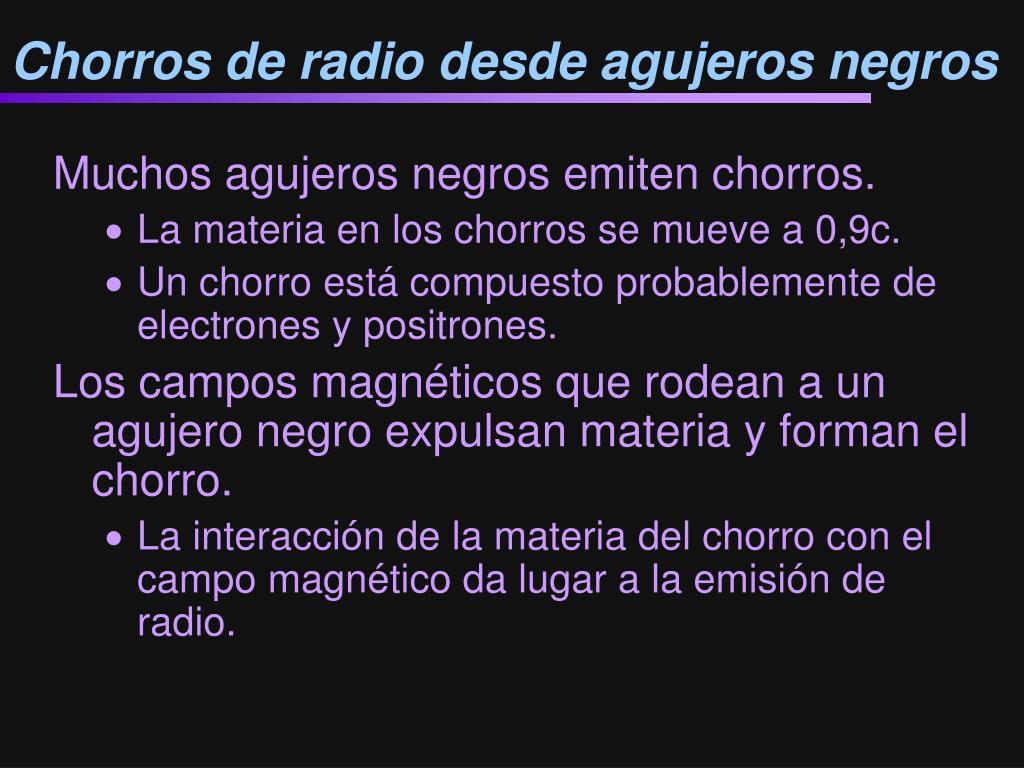 Chorros de radio desde agujeros negros