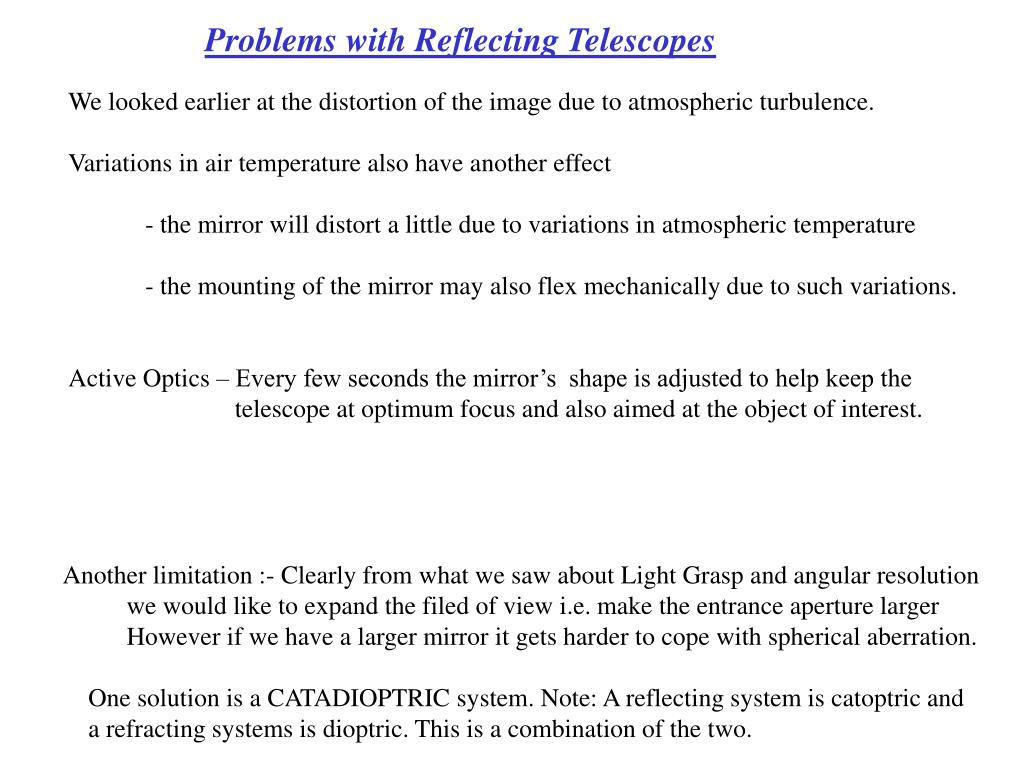 Problems with Reflecting Telescopes