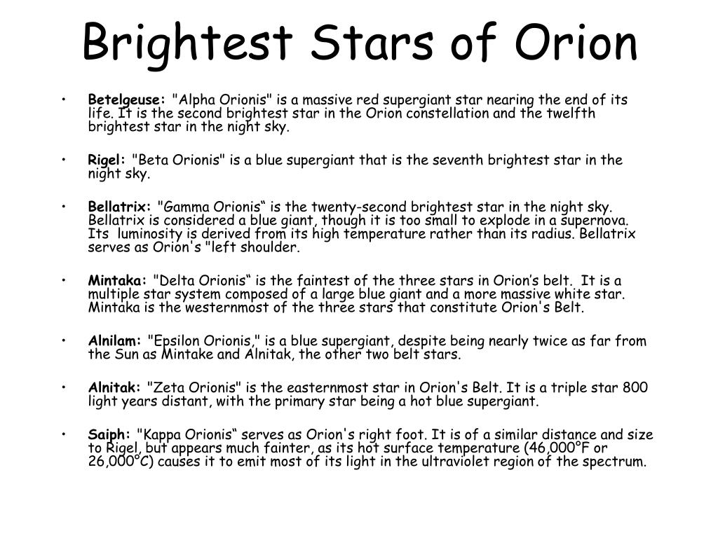 Brightest Stars of Orion