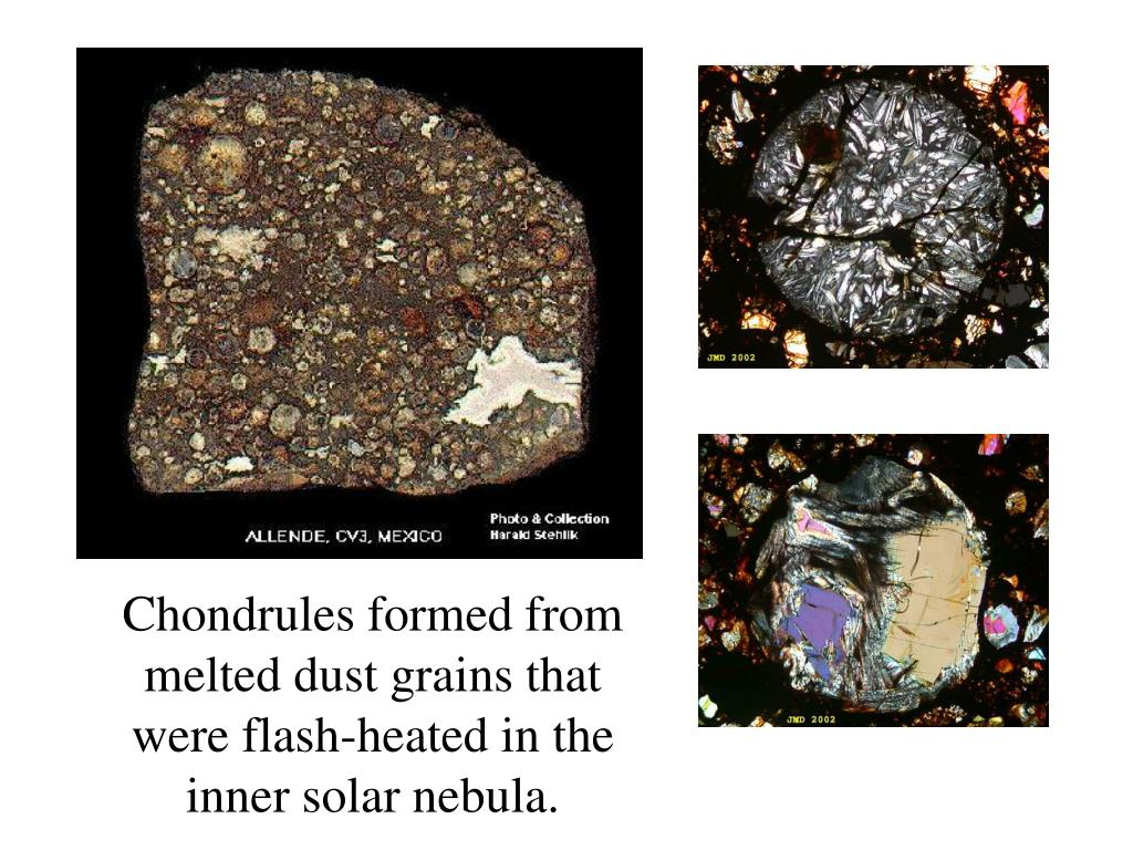 Chondrules formed from melted dust grains that were flash-heated in the inner solar nebula.