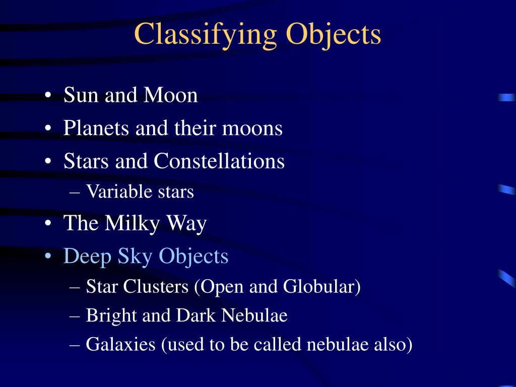 Classifying Objects