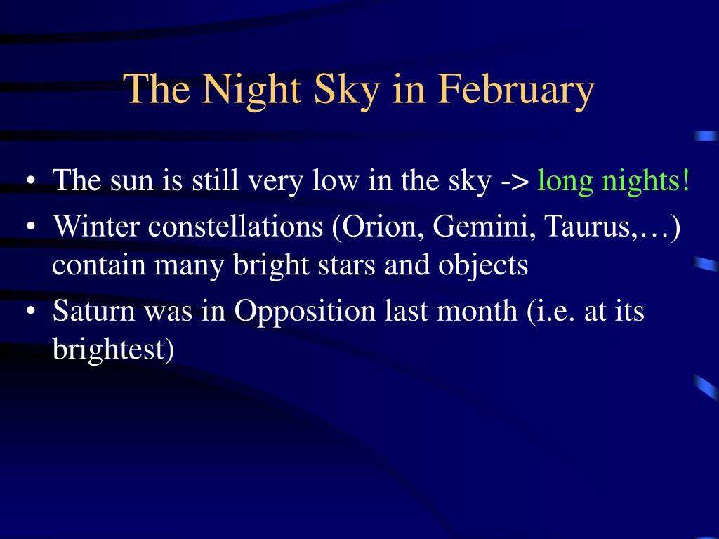 The Night Sky in February