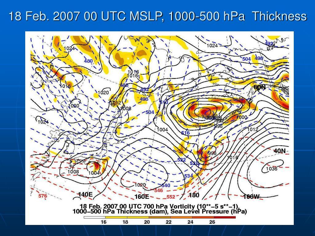 18 Feb. 2007 00 UTC MSLP, 1000-500 hPa  Thickness