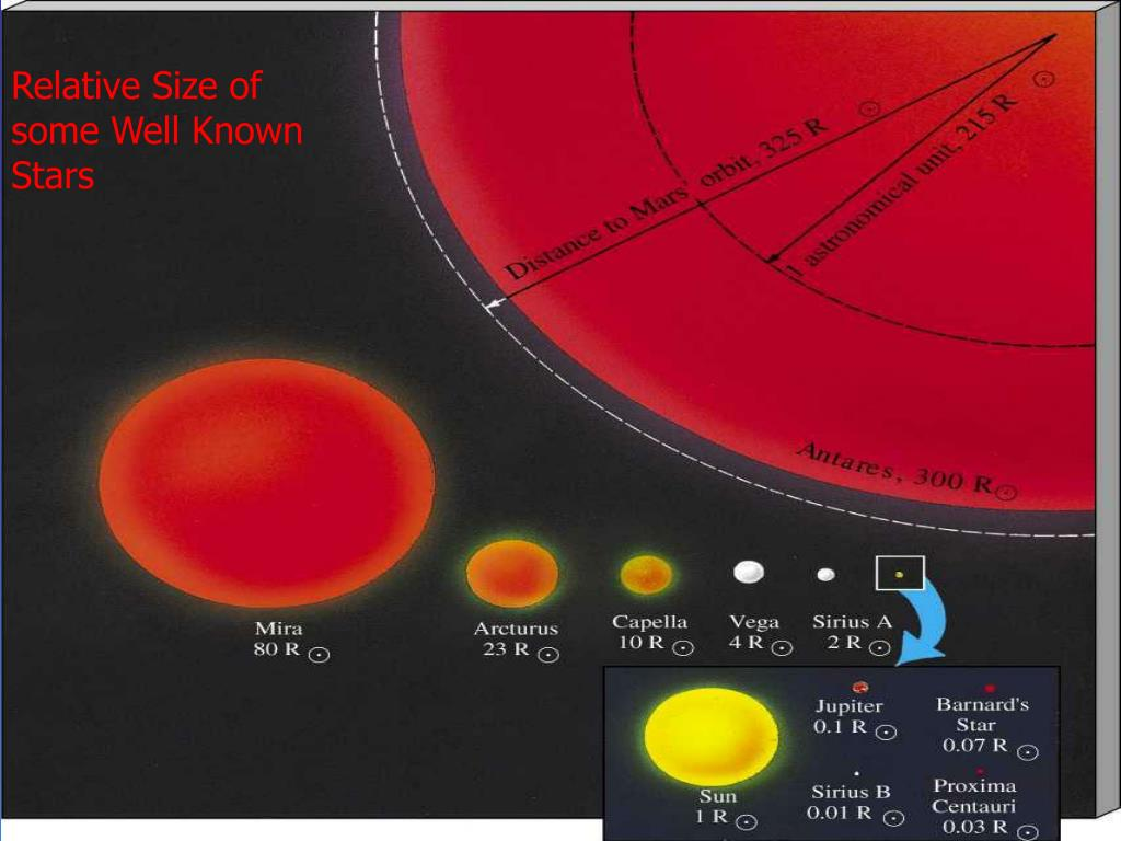 Relative Size of some Well Known Stars