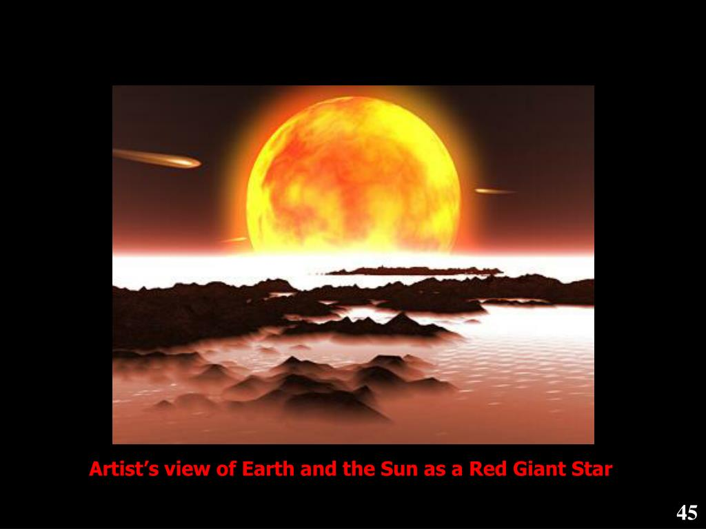 Artist's view of Earth and the Sun as a Red Giant Star
