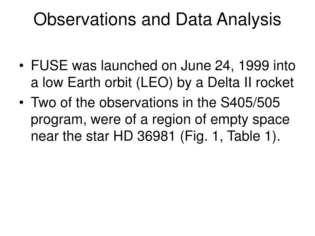 Observations and Data Analysis