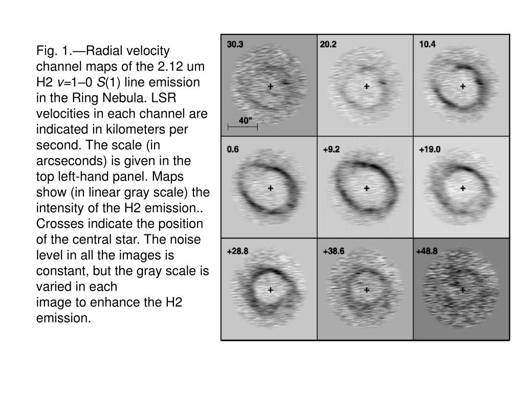 Fig. 1.—Radial velocity channel maps of the 2.12 um H2