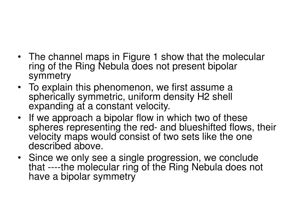 The channel maps in Figure 1 show that the molecular ring of the Ring Nebula does not present bipolar symmetry