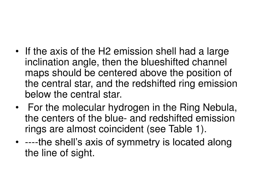 If the axis of the H2 emission shell had a large inclination angle, then the blueshifted channel maps should be centered above the position of the central star, and the redshifted ring emission below the central star.
