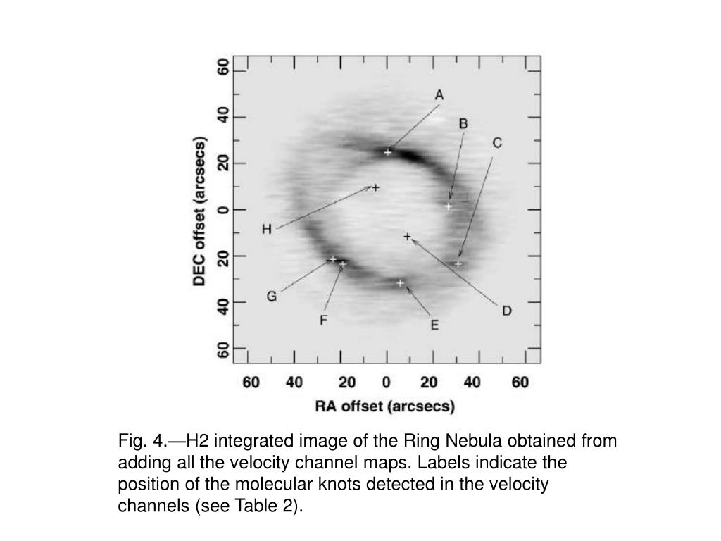 Fig. 4.—H2 integrated image of the Ring Nebula obtained from adding all the velocity channel maps. Labels indicate the position of the molecular knots detected in the velocity channels (see Table 2).