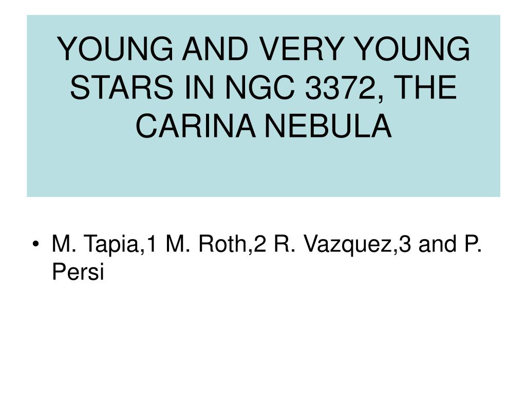 YOUNG AND VERY YOUNG STARS IN NGC 3372, THE CARINA NEBULA