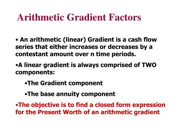 Arithmetic Gradient Factors