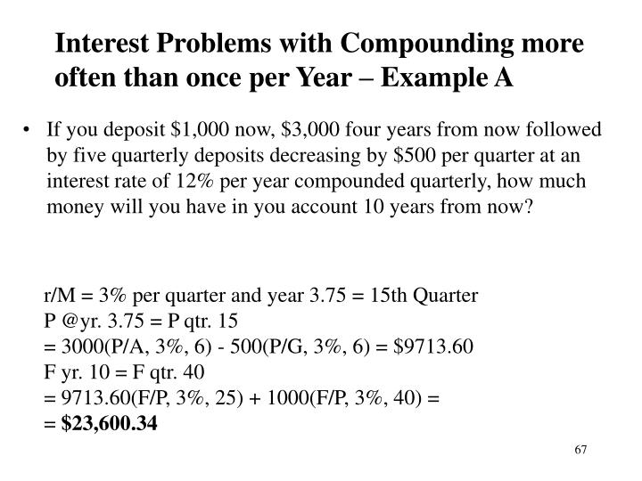 Interest Problems with Compounding more often than once per Year – Example A