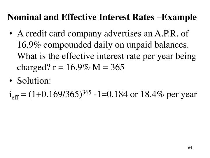 Nominal and Effective Interest Rates –Example
