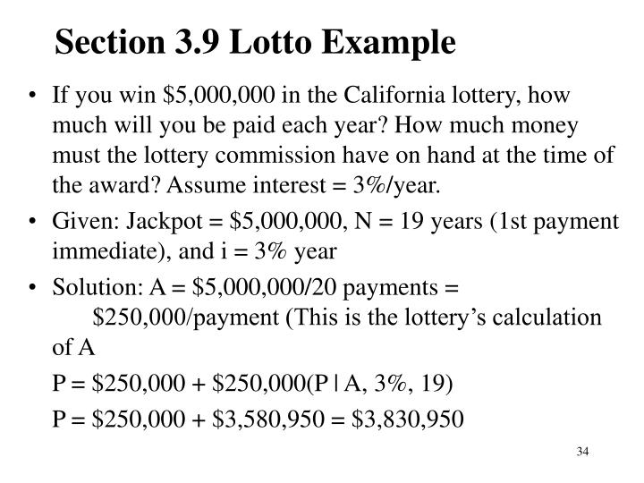 Section 3.9 Lotto Example