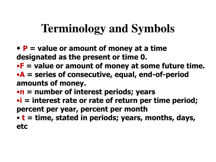 Terminology and Symbols