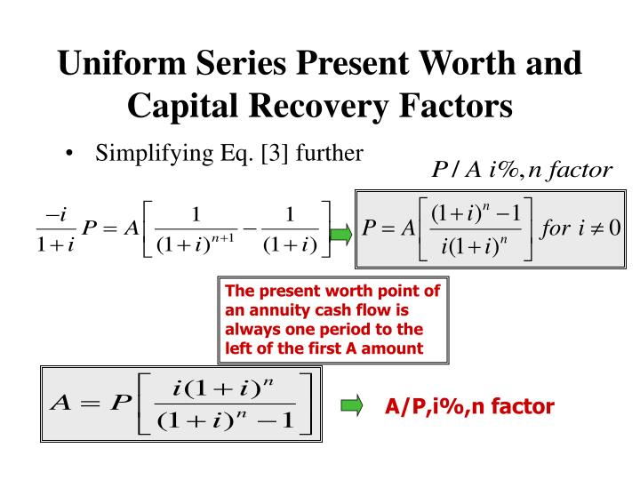 Uniform Series Present Worth and Capital Recovery Factors